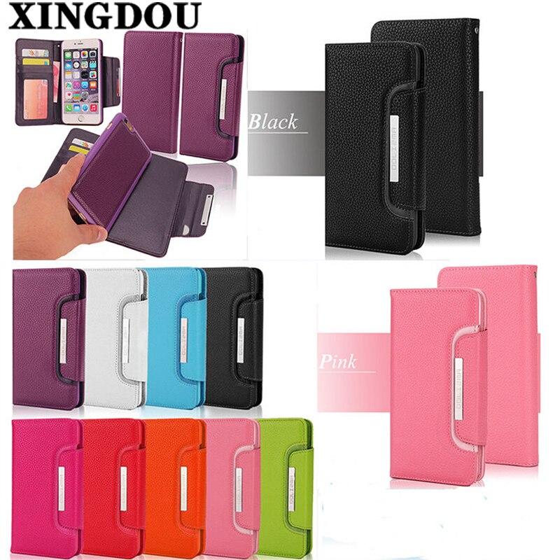 Xingduo для iphone 5S случае искусственная кожа Съемный кошелек флип чехол для iPhone 7/7 Plus/6 6 s plus/5/5S/SE/4/4S