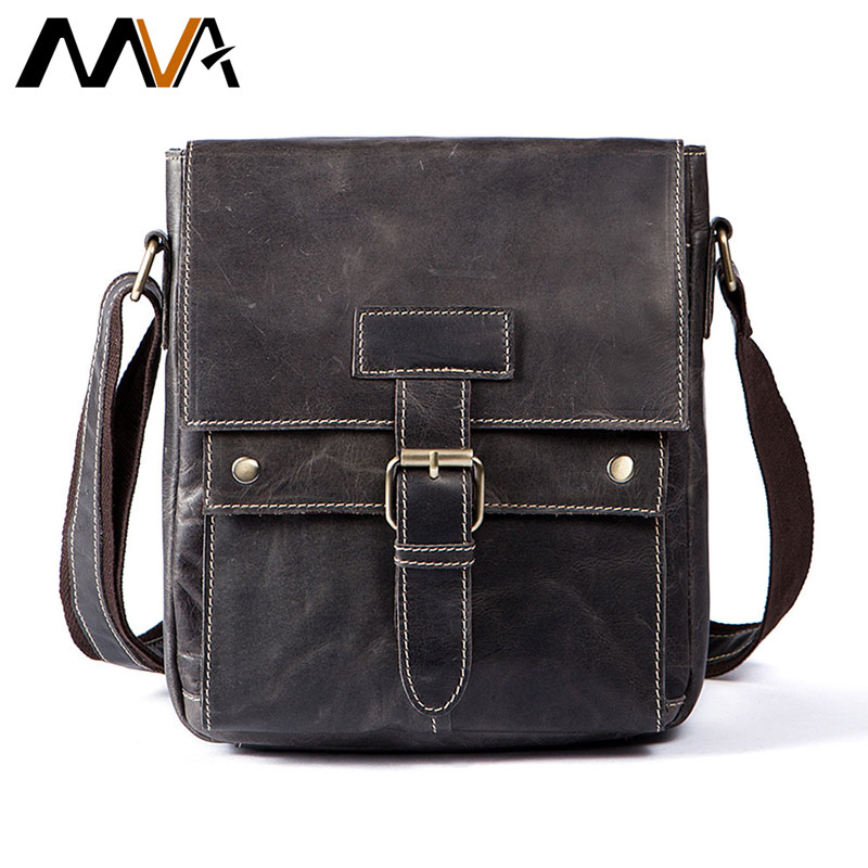 MVA Men's Leather Messenger Bag Flip Zipper Buckle Work Crossbody Bags Leather Solid Color Shoulder Bag Men And Women Handbag vintage women s crossbody bag with color block and buckle design