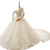 Ball Gown Lace Beading Crystal High Neck Bride Wedding Dresses Wedding Gowns Marriage Vestido De Noiva Bridal Gowns Best Quality