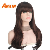 Anxin Long Body Wave   Wig   24'' Brown With Bangs Women Party Anime   Cosplay     Wig