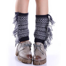 2018 New Women Knitted Leg Warmers Womens Tassel Gaiters Womens Stretched Bohemia Boot Leg Cuffs Soft Laced Boot Socks(China)