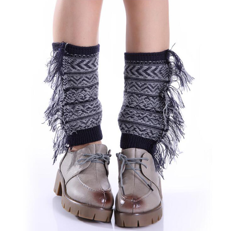 2018 New Women Knitted Leg Warmers Womens Tassel Gaiters Womens Stretched Bohemia Boot Leg Cuffs Soft Laced Boot Socks