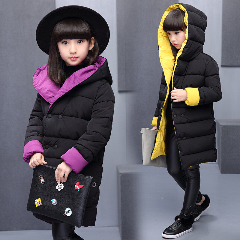 2018 Winter Girls Reversible Wadded Jacket Children Thickening Cotton-Padded Coat Female Kids Medium-Long Hooded Outerwear 5-13T 2015 new mori girl wave raglan hooded loose sleeve medium long wadded jacket female