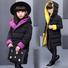 2019 Winter Girls Reversible Wadded Jacket Children Thickening Cotton-Padded Coat Female Kids Medium-Long Hooded Outerwear 5-13T цена 2017