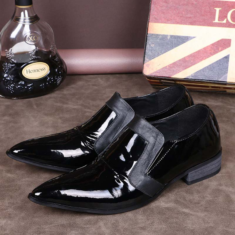Handmade Genuine Patent leather with black men loafers Fashion party wedding male dress shoes men's pointed toe business shoes 2016 new men s fashion genuine leather shoes wedding dress dancing formal office party shoes pointed elastic belt patent brandy