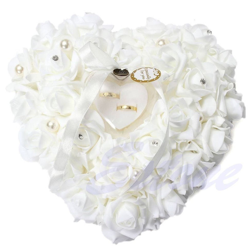 New Elegant Rose Wedding Favors Heart Shaped Design Gift Ring Box Pillow Cushion Mariage Decor Bridal