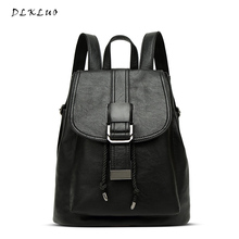 Genuine Leather Women Backpacks Fashion Belts Buckle Soft Washed Leather Bags Schoolbags For Girls Female Leisure Bag Mochilas