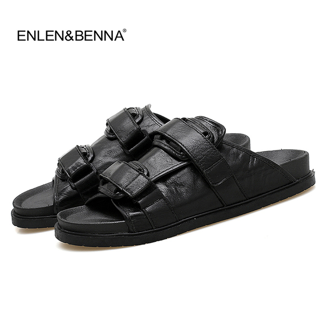 96217ceb02298 2018 Summer Genuine Leather Sandals Men Fashion Brand Quality Gladiator  Beach Men Sandals Slippers Men Casual Sandals Big size46