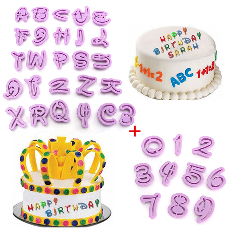 40 Pcs Lot Number Letters Happy Birthday Plastic Fondant Cake Decoration Tools Font Alphabet Cookie Biscuit