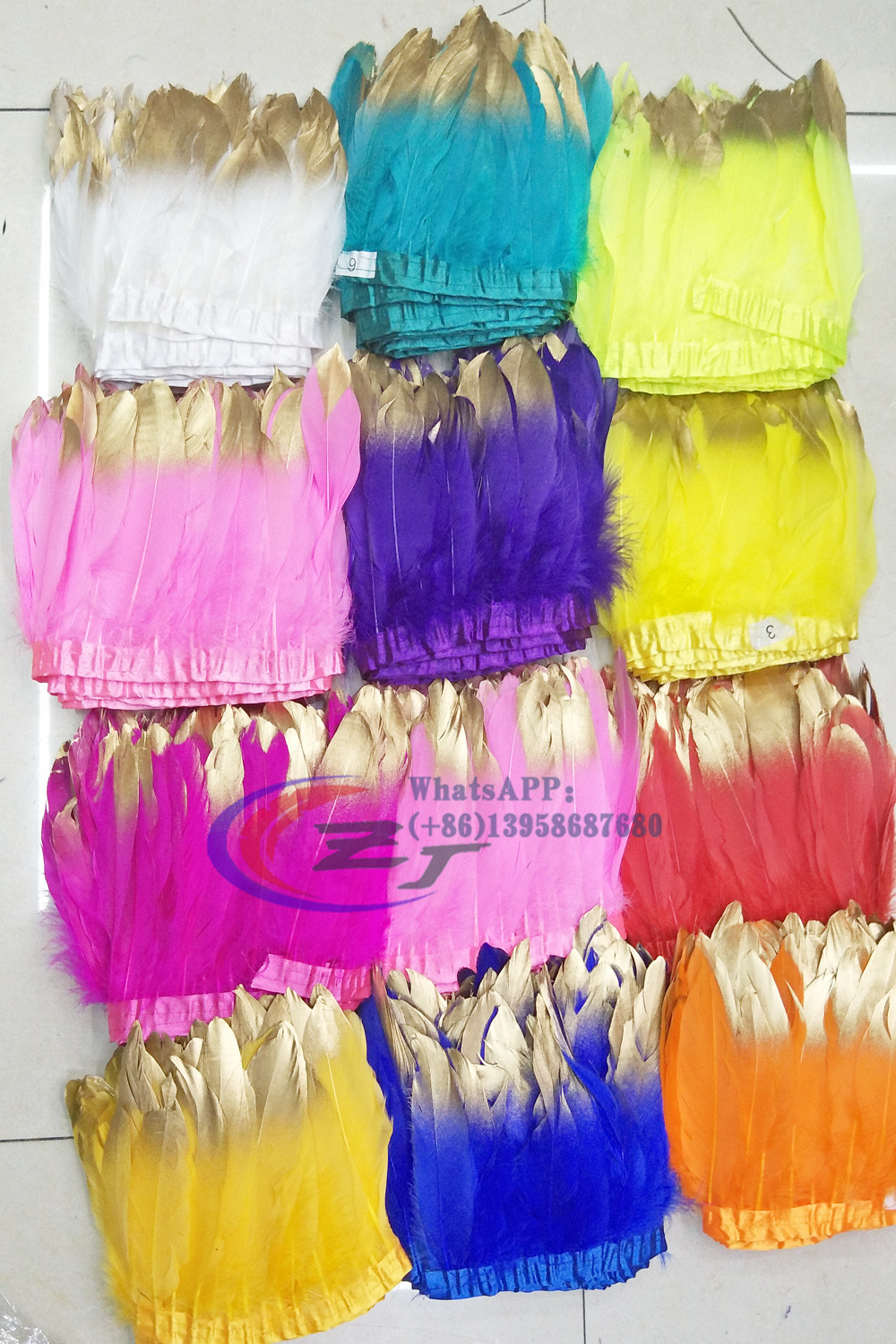 2017 New Goose feather trims 2yards/lot Gold Tips Dyed geese feather ribbons /15-18cm Duck feather fringes Free shipping