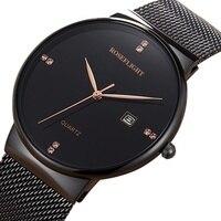 Ультра тонкие женские часы брендовые роскошные женские часы водонепроницаемые розовое золото нержавеющая сталь кварцевые наручные часы ...