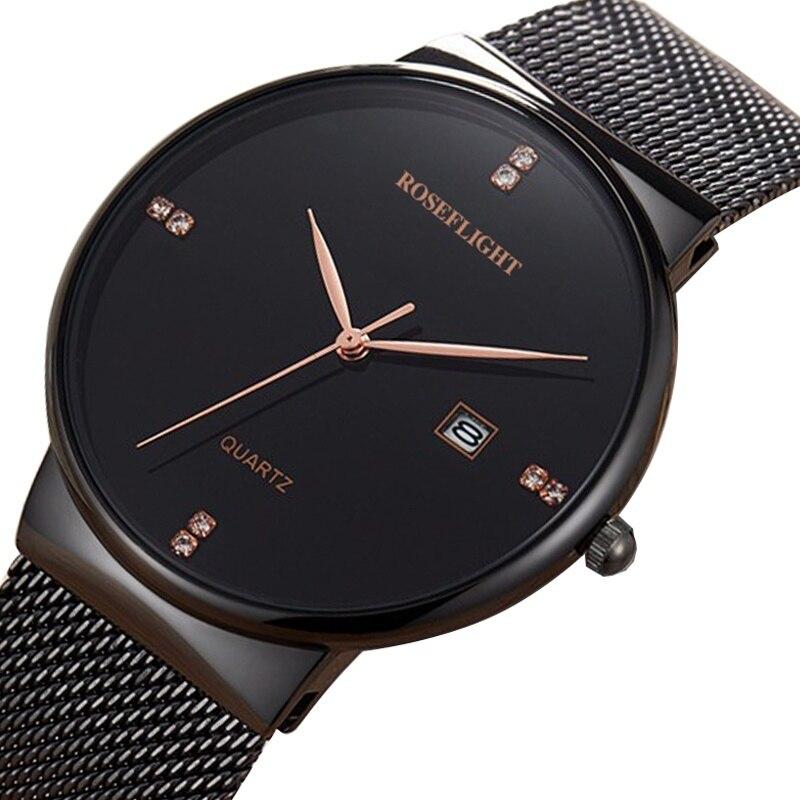 Ultra mince dames Montre marque de luxe femmes montres étanche or Rose acier inoxydable Quartz Montre-bracelet Montre Femm