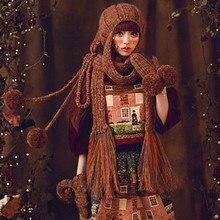 Мода Шапка и Шарф и Перчатки Милые Женщины Зима Теплая Толщиной 100% Ручной Вязки Hat Caps