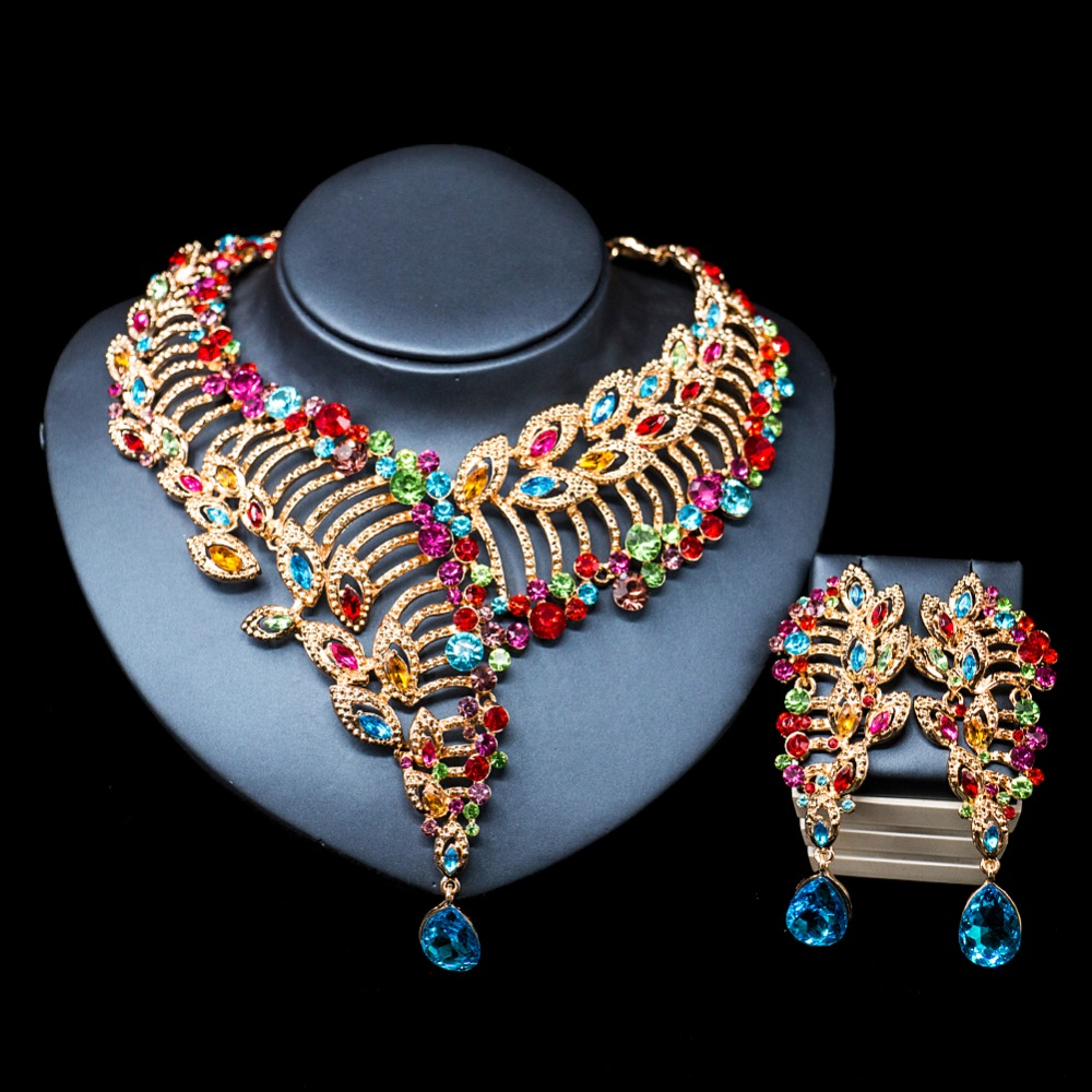 LAN PALACE African beads necklace jewelry set gold color necklace and earrings for wedding free shipping chic rhinestone african plate shape pendant necklace and earrings for women