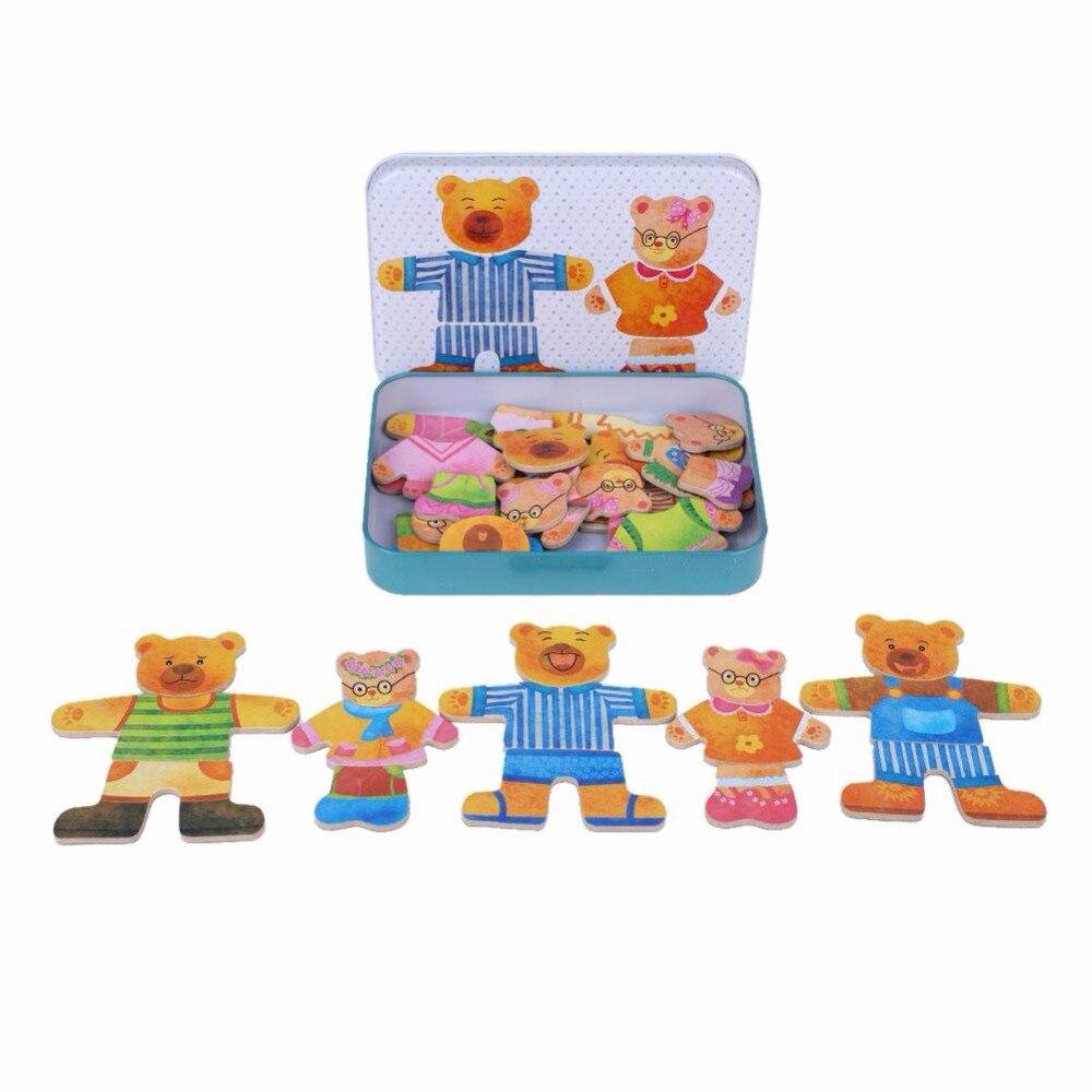 Новый Медведь переодеться деревянные головоломки игрушки для детей ребенка раннего образования туалетный игра деревянные игрушки головол...