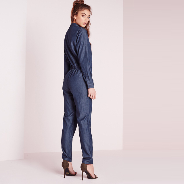 HDY Haoduoyi Fashion Single Button Jumpsuits Women Long Sleeve Female Shirt Jumpsuits Loose Blue Ladies Jumpsuits