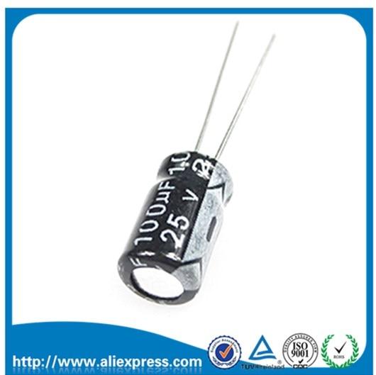50 шт. 25 в 100 мкФ Алюминиевый электролитический конденсатор 25 В/100 мкФ Размер 6*11 мм электролитический конденсатор