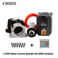 2 2KW 220V Spindle Water Cooled Kit Er20 Milling Spindle Motor 2 2KW VFD 80 Clamp