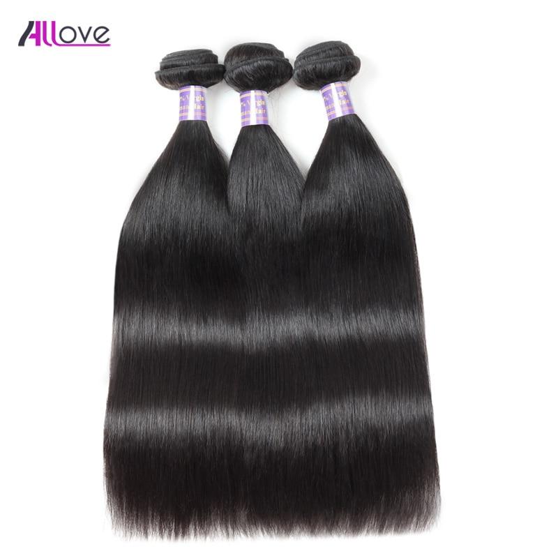 3 Bundles Brazilian Straight Hair Bundles 100% Remy Straight Human - Mänskligt hår (svart)