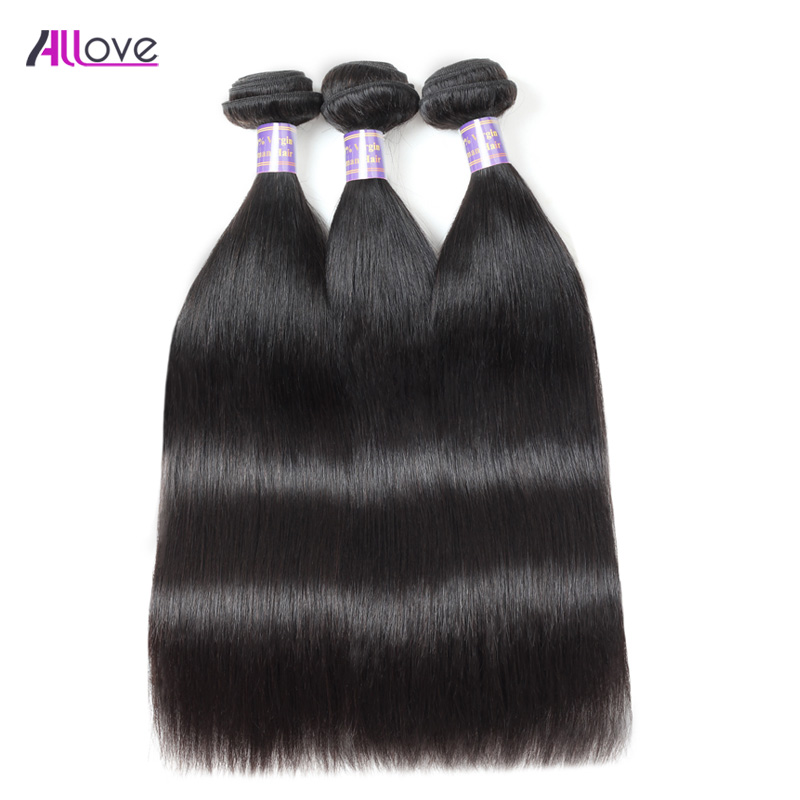 3 Bundles Straight Hair Bundles Deals 100% Remy Human Hair Weave Extensions ALLove Hair Products Natural Color 8-28inch Hair
