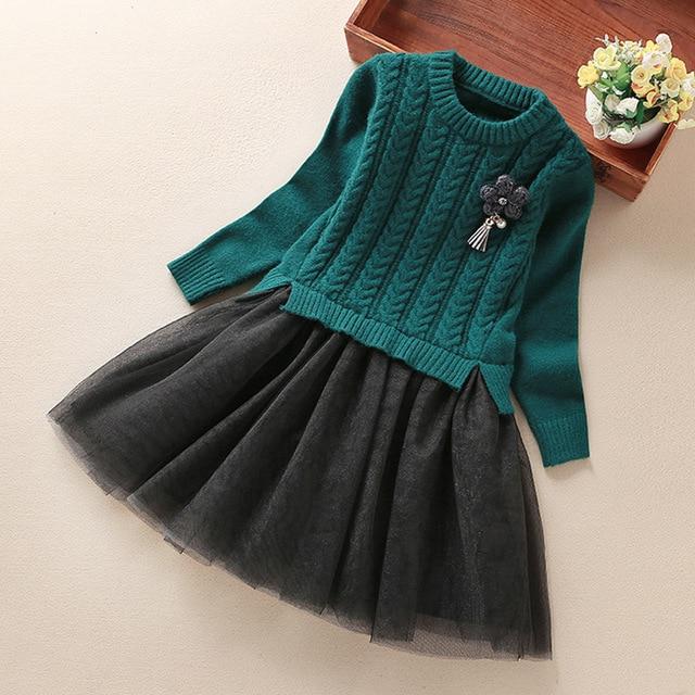 d8c304c503b6 Girl Christmas Dress 2017 Fashion Autumn Girls Flower Knitted Tulle TUTU  Party Dresses Toddler Girl Clothing