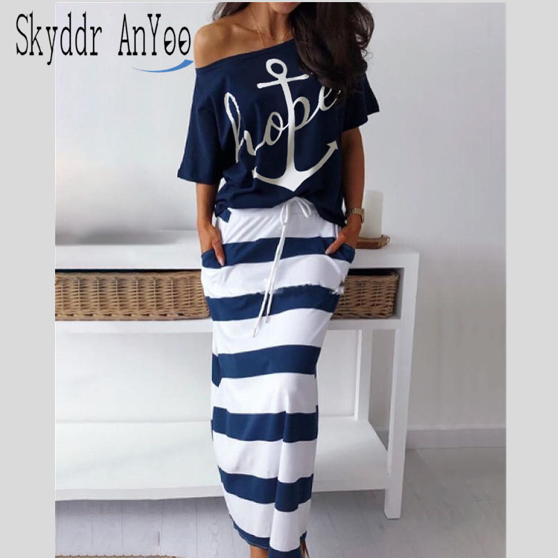2 Piese Set Women Hope Boat Anchor Print Off Shoulder T-Shirt Top And Striped Long Skirt Sets Summer Casual Two Piece Skirt Sets