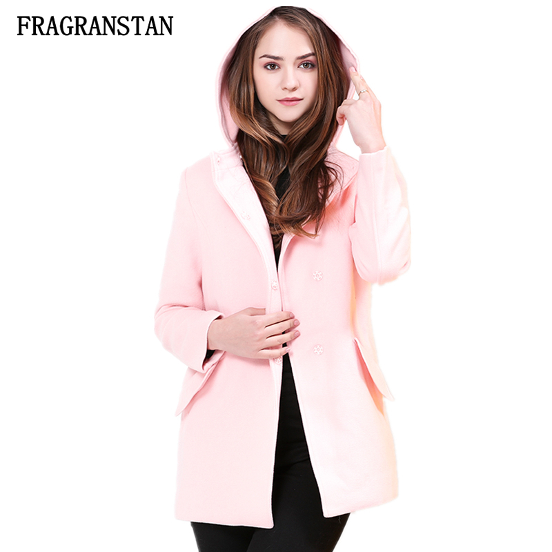 Female 2018 Autumn Winter Hooded Pink Woolen Coat Ladies Fashion Covered Button Sweet Parkas Casual High