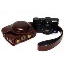 Funda de cuero PU de alta calidad para Sony RX100 RX100II RX100 M3 RX100III M4 M5 M6 con tornillo, funda de botones, bolso de hombro con correa