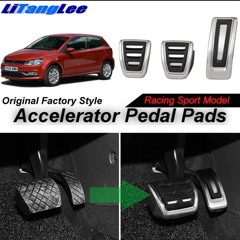 LitangLee Car Accelerator Pedal Pad Cover Sport Racing Foot Throttle Pedal Cover For Volkswagen VW Polo MK5 6R 6C 61 2009-2017 litanglee car accelerator pedal pad cover racing sport for mini cooper clubman r55 f54 2007 onwork at foot throttle pedal cover