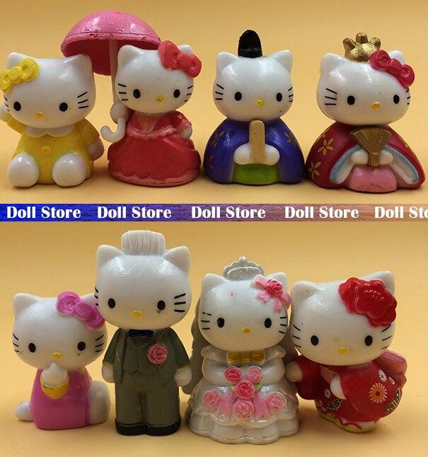 ><font><b>8pcs</b></font>/LOT 3.5cm pvc <font><b>Japanese</b></font> anime figure cute <font><b>kawaii</b></font> hello kitty action figure <font><b>set</b></font> collection model toy for girls