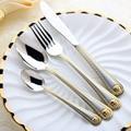 4 Pçs/set Cabeça Medusa Ouro Conjunto de Talheres de Aço Inoxidável Louça Faca Garfo Colher Conjunto de Talheres de Mesa