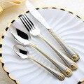 4 Pcs/set Medusa Head Gold Cutlery Set Stainless Steel Flatware Set Tableware Dinnerware Knife Spoon Fork