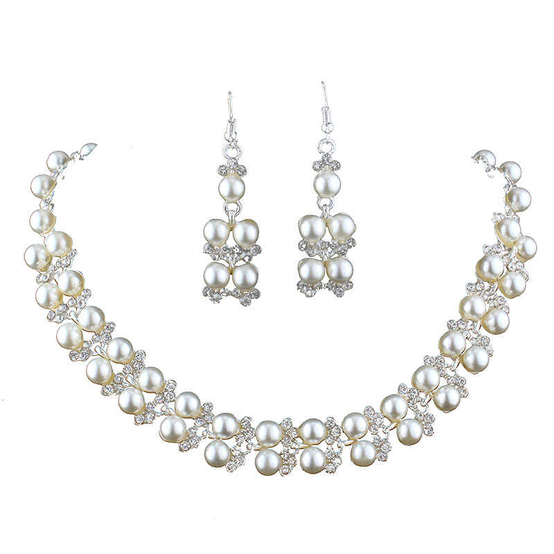 jiayijiaduo Jewelry sets wedding for women Imitation pearl Silver color Necklace earring pendants for a neck accessories
