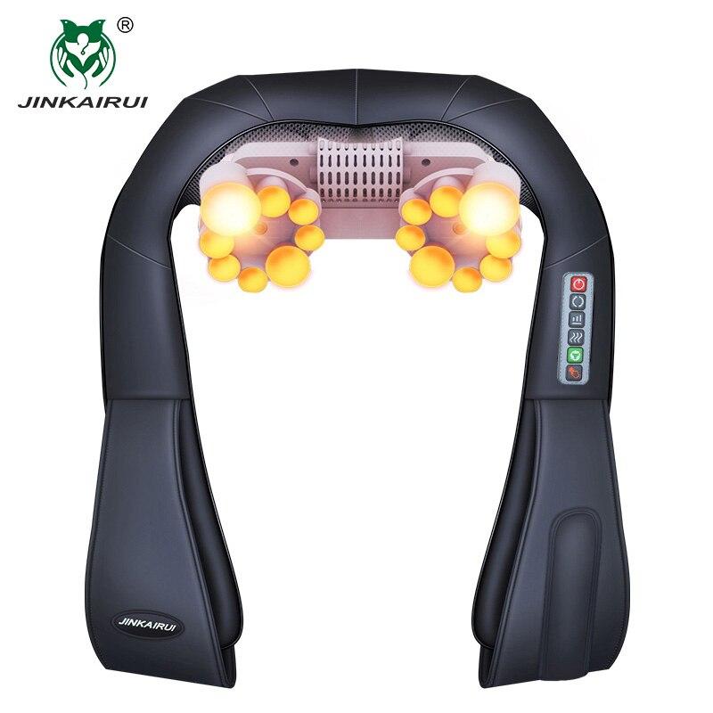Forma de U Elétrica Amassar Massagem Shiatsu Volta Do Pescoço e Ombro Massageador Corporal Infravermelho 4D UE Plug/Apartamento Casa de Carro Dual uso 16 Bolas