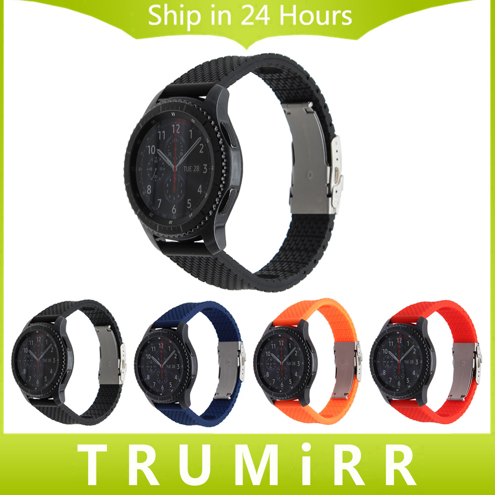 Silicone Rubber Watchband Quick Release 22mm for Samsung Gear S3 Classic Frontier Watch Band Safety Buckle Strap Wrist Bracelet crested sport silicone strap for samsung gear s3 classic frontier replacement rubber band watch strap for samsung gear s3