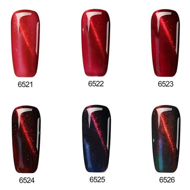 Huration 3D Magnetic Red Cat's Eye Nail Gel Lacquer 6 Colors Nail Art Flame Primer UV LED Gel Varnish 8ML Nail Gel Polish Set 1