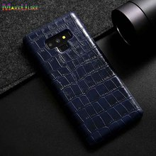 MAKEULIKE Genuine Leather Note9 Case For Samsung Galaxy Note 9 Cover Alligator Luxury Hard Phone Back Case For Samsung Note 9