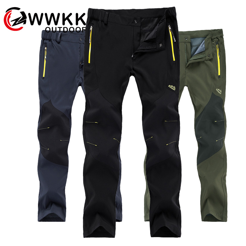WWKK Outdoor Hiking Tactical Waterproof Pants Men Mountain Climbing Quick Dry Fishing Trekking Softshell Trousers New wanderhose-in Hiking Pants from Sports & Entertainment