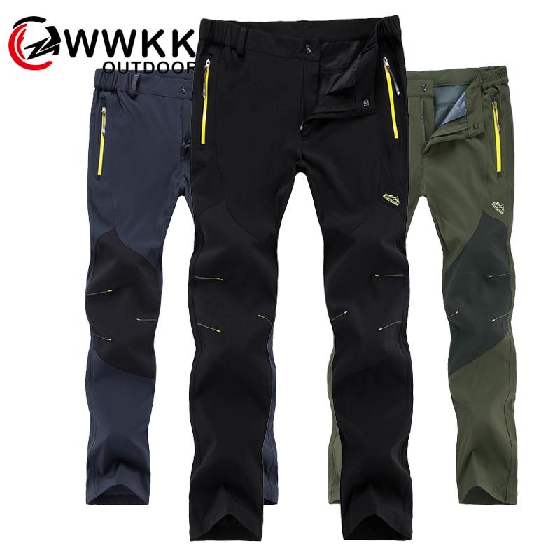 WWKK Outdoor Hiking Tactical Waterproof Pants Men Mountain Climbing Quick Dry Fishing Trekking Softshell Trousers New Wanderhose
