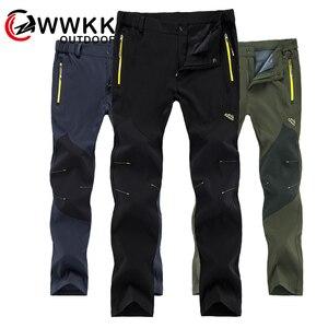 Image 1 - WWKK 야외 하이킹 전술 방수 바지 남성 등산 빠른 건조 낚시 트레킹 Softshell Trousers New wanderhose