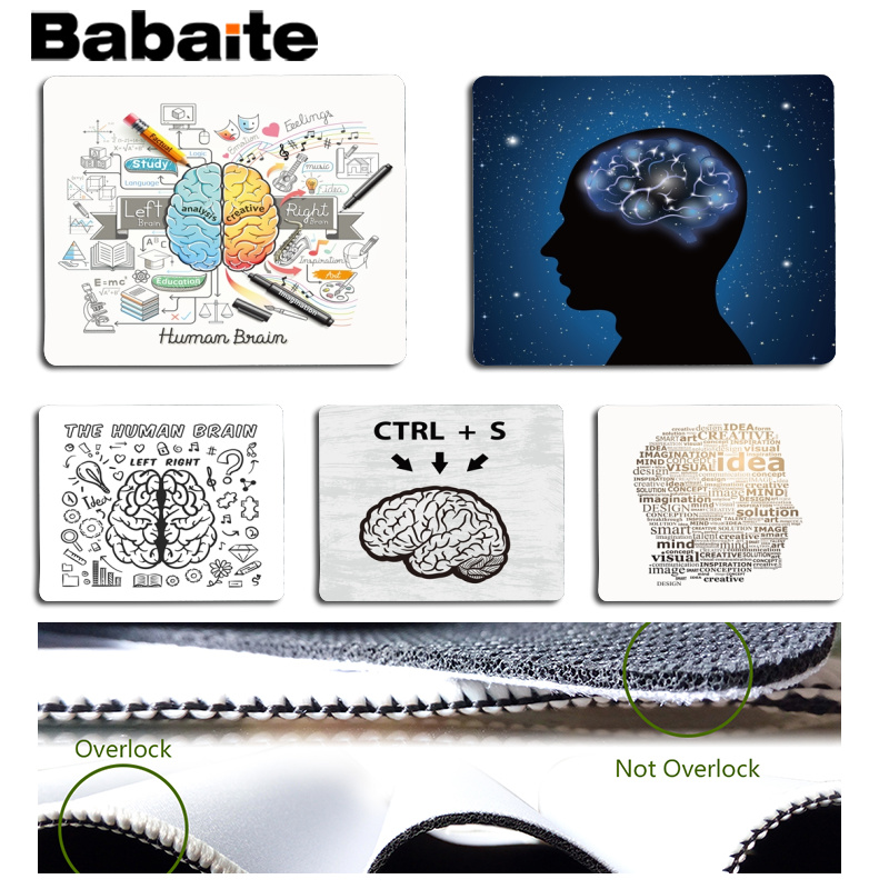Babaite Non Slip PC Brain Left and Right Customized MousePads Computer Laptop Anime Mouse Mat Size for 18x22cm 25x29cm