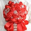 2017 Люкс Для Невесты Свадебный Букет Дешевые Новый Роскошный Кристалл Жемчуг Красный Ручной Искусственный Цветок Розы Свадебные Букеты