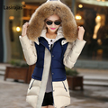 New Fashion Women Cotton Patchwork Slim Long Sleeve Button Feathers Cap Pockets Zippers Down Parkas Women's Winter Coat Casual