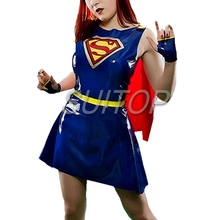 new Item 100% nature rubber Superman suits latex dress set for female Hollyhood uniforms woman