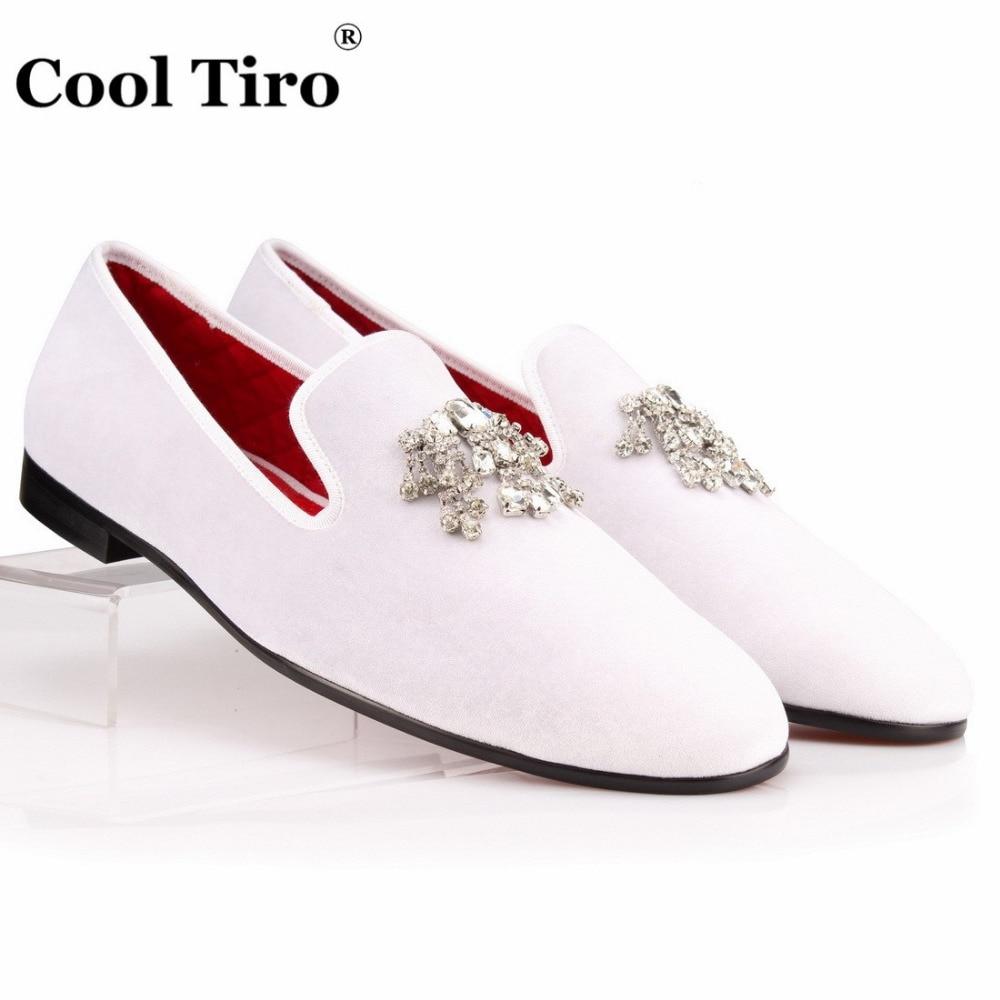 COOL TIRO Velvet Dress Shoes Men Loafers Rhinestones Crystal Tassel Slippers White Velour Luxury Banquet Men