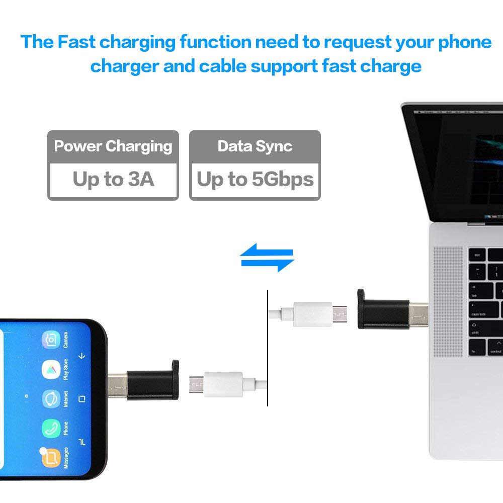Ascromy USB C Adaptador de Carregador Micro USB para Conversor de Conector do Tipo C Com Chaveiro Para Samsung S9 S8 6 Oneplus LG Adaptador G6 5