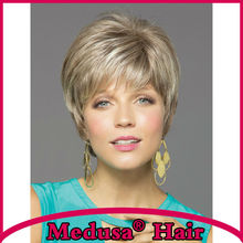 Medusa hair products: Sophisticated pixie styles Synthetic pastel wigs for women Short straight Mix color wig with bangs SW0141B