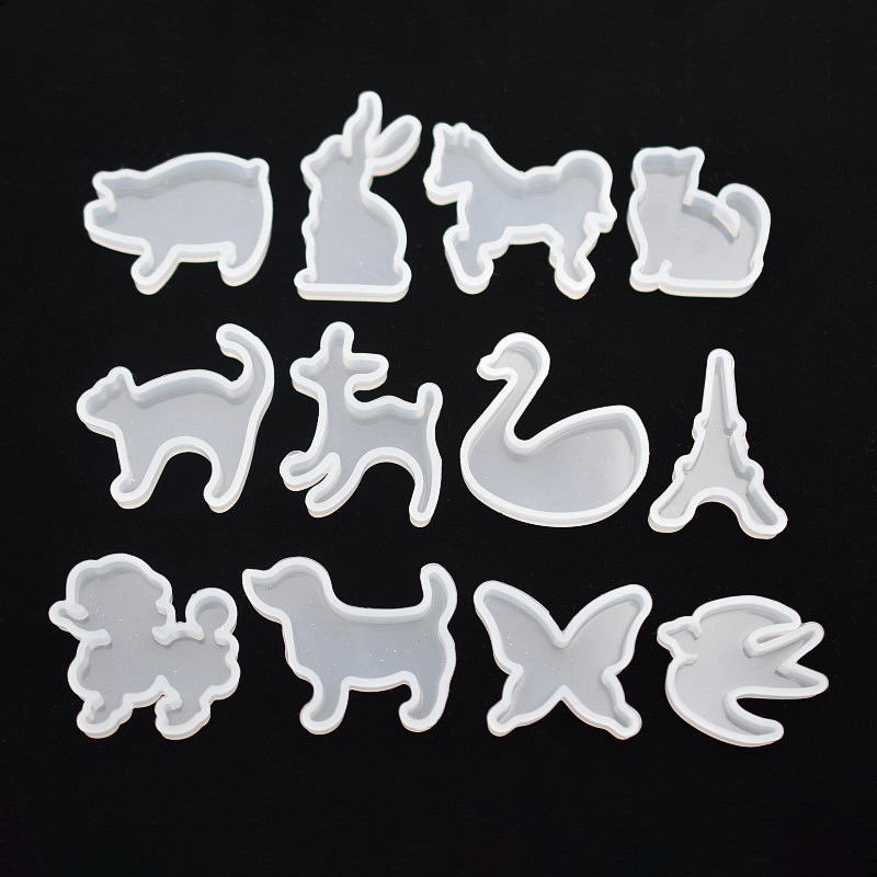 SNASAN Silicone Mold For Jewelry Cute Animals Cat Rabbit Deer Horse Resin Silicone Mould Handmade  Findings Epoxy Resin Molds