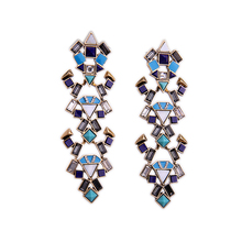 Fashion Bohemian Jewelry Long Multicolor Earring For Women Geometric Ethnic Earring Antique Gold Plated