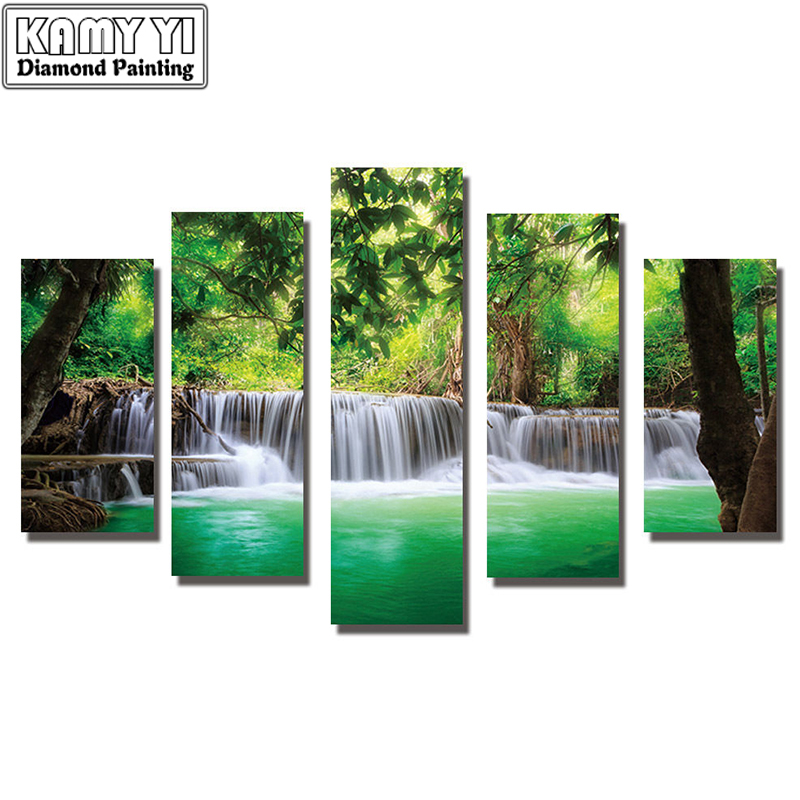 5d diy Diamond embroidery waterfall forest diamond painting Cross Stitch full drill Rhinestone mosaic Multi-picture5d diy Diamond embroidery waterfall forest diamond painting Cross Stitch full drill Rhinestone mosaic Multi-picture